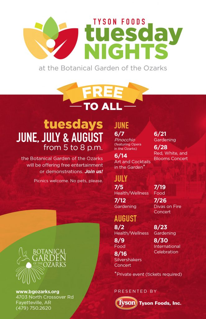 Tyson Foods Tuesday Night @ Botanical Garden of the Ozarks